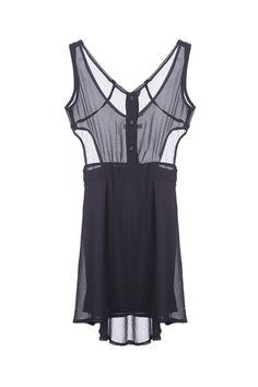 Cut-out Waist Black Shift Dress  $25.90  romwe.com  #romwe #ROMWE