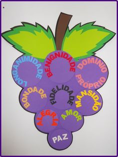 1 CACHO DE UVA (EVA 3MM) (93 CM COMPRIMENTO)  9 GRÃOS COM QUALIDADES (ÍMÃ)  1 BICHINHO DO MAL (ÍMÃ)  6 PALAVRAS DO BICHINHO DO MAL (ÍMÃ)    APLICAÇÃO:    - vencendo as obras da carne  - vida frutífera Bible Activities For Kids, Bible Crafts For Kids, Preschool Crafts, Crafts To Make, Fruits For Kids, Bible Coloring Pages, Fruit Of The Spirit, Teaching Aids, Church Crafts