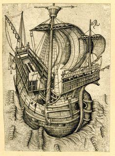 A ship steering to the right; Engraving, Netherlandish, 1465-1490