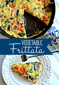 Vegetable Frittata (Meatless Monday Idea) from Hip2Save.com. Make sure you repin this if you need more ideas for what to make for breakfast.