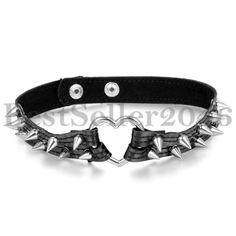 Leder Halskette Halsband Anhänger Choker Ahle Taper Spitze Nieten Herz-Ring