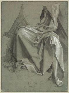 Inventaire du département des Arts graphiques - Draperie couvrant les genoux et le torse d'un Christ assis - DURER Albrecht