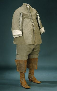 Grey wool suit (kamlott) with leather boots, Swedish, 1650s. Worn by Karl X Gustav of Sweden (1622-1660).