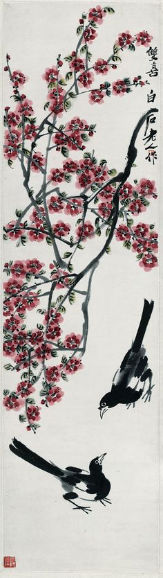 Flowers and Birds,Double magpie,rice paper prints,traditional Chinese painting,customize...