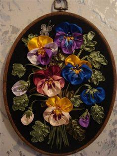 Ribbon embroidery pansy bouquet ХоббиШтучки: Вышивка ЛЕНТАМИ