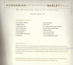 use whole milk or add double barley Savoury Recipes, Soup Recipes, Dinner Recipes, Cooking Recipes, Mushroom Barley Soup, Stuffed Mushrooms, Stuffed Peppers, Vegetable Stock, Soup And Salad