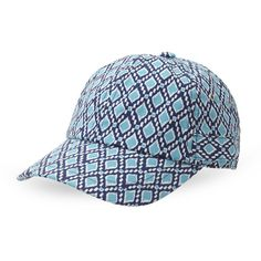 Hat Attack Diamond-Print Baseball Cap (€13) ❤ liked on Polyvore featuring accessories, hats, blue, baseball caps hats, adjustable baseball cap, blue baseball hat, baseball cap and adjustable baseball hats