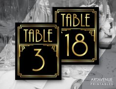 Art Deco Party Table Number Signs Printables, Gatsby Wedding, Roaring Twenties Party Decor, Art Deco Party Supplies - Black and Gold - ADBG1 by ARTAVENUEPRINTS on Etsy