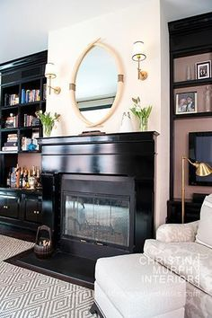 Like my daughter's house....love the satin black crown/floor molding, fireplace, etc...