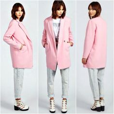 Boyfriend coat in pink