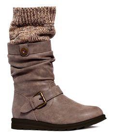 Gray Sky Knit-Cuff Boot