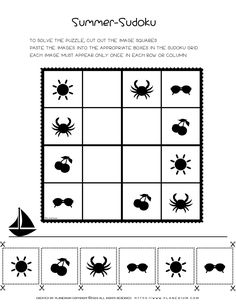 A FREE printable Sudoku + printable answer. For beginning puzzle solvers, sudoku summer theme. Seasons Worksheets, Summer Worksheets, Kindergarten Worksheets, Worksheets For Kids, Second Grade Games, Puzzle Solver, Sudoku Puzzles, End Of Year Activities, Puzzle Games For Kids