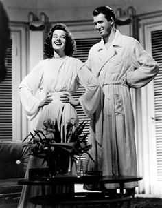The Philadelphia Story: Katharine Hepburn as Tracy Lord; Adrian's costumes: the toga for the modern woman. Belted at the waist, with wide fluid sleeves and a pleated shoulder detail it's elegant, fluid and modern, echoing 30's design features and emphasizes Hepburn's lean frame and defined cheekbones.