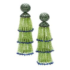 Hemmerle Sapphire and Peridot Tassel Ear Pendants | From a unique collection of vintage clip-on earrings at https://www.1stdibs.com/jewelry/earrings/clip-on-earrings/
