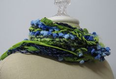 I LOVE IT  Scarf Lime navy shabby chic braids Bohemian Fringe by PurpleSageDesignz, $ 16.00