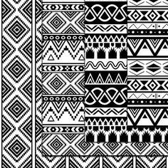 Aztec papier numérique noir et blanc Seamless par DigitalMagicShop