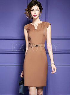 Shop Work Belted V-neck Splicing Bodycon Dress at EZPOPSY. Elegant Dresses, Beautiful Dresses, Nice Dresses, Short Dresses, Dresses For Work, Outfits Casual, Casual Dresses, Formal Dresses, Summer Outfits