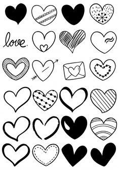 Colección de corazón doodle dibujado a m.