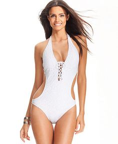 fc5157fe50 Ralph Lauren Blue Label Lace-Up One-Piece Swimsuit & Reviews - Swimwear -  Women - Macy's