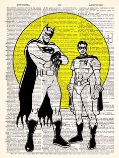 Batman and His Sidekick Robin vintage dictionary print book page art print beautifully UpCycled 8x10