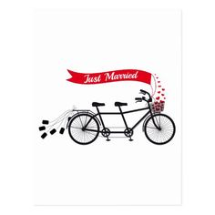 Just married, wedding tandem bicycle postcard