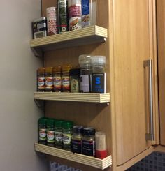 Custom spice rack made with mdf, pine quadrant and moulding to finish.