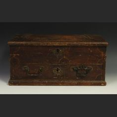 A Colonial American painted oak travelling document box