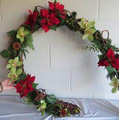 Christmas Gala 2014 Mid Island Floral Art Club Qualicum Beach B.C.Canada Horse shoe Wreath by Andrea Strachan