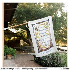 Rustic Vintage Floral Thanksgiving Verse House Flag | Zazzle.com