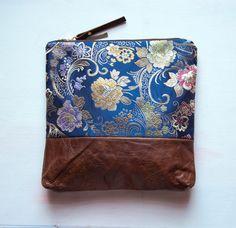 E X T R A  LARGE Make Up Bag Blue Satin by GiftShopBrooklyn, $88.00