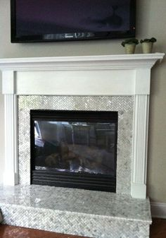 Basket weave Carrara marble fireplace tile surround with white ...