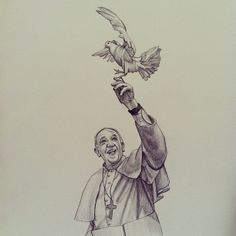 Original charcoal drawing of Pope Francis with the Holy Spirit dove perched on his hand. Artist: Megan Martin Dimensions: 8x10  Available in Prints as well.