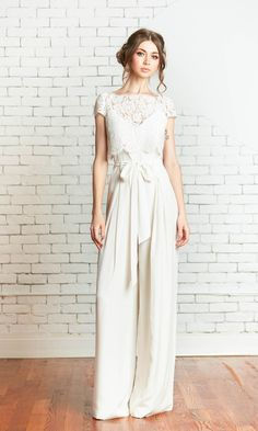 Wedding reception or bridal shower white jumpsuit