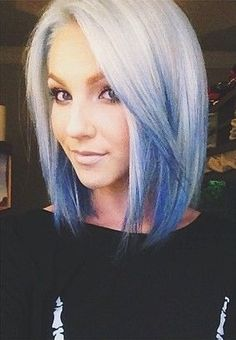 Short White to Blue Reverse Ombre Hair♡ #Hairstyle #Dyed_Hair #Beauty