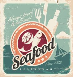 Vintage poster for seafood restaurant. Retro vector old paper background with fish and food. Old fashioned graphic design. — Vector by lukeruk