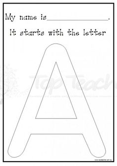 Use this activity with your students to reinforce the initial letter of their name. You may like to have the students paint their letter using different colours to practise correct letter formation, o Kindergarten Names, Preschool Names, Preschool Letters, Learning Letters, Kindergarten Literacy, Preschool Learning, Preschool Activities, Letter Activities, Writing Activities