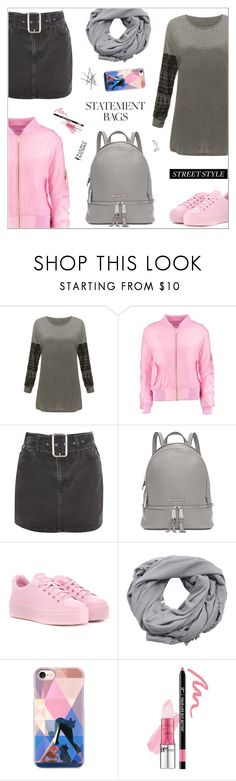 """""""Grey+Pink"""" by nastenkakot ❤ liked on Polyvore featuring Boohoo, Topshop, Michael Kors, Kenzo, MANGO, Casetify, It Cosmetics and Bling Jewelry"""