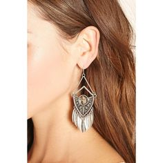 Forever 21 Faux Stone Drop Earrings ($6.90) ❤ liked on Polyvore featuring jewelry, earrings, stone earrings, stone jewellery, fake jewelry, stone drop earrings and artificial jewellery