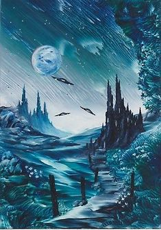 """Encaustic Wax Painting A5 """" The Time Travellers """" Original J.E.Green"""