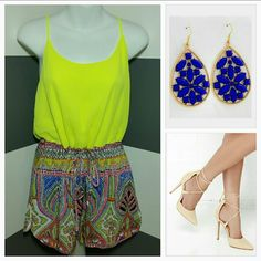 """Vibrant and fun romper NWT *Season Must have* Brand new with tags Vibrant colors are this season MUST-HAVE! Grab this vibrant romper for your summer/spring 2016 wardrobe. Vibration neon yellow top, fun print on short. Cinches at the waist with a tie. Pair with heel.or flip flops!  Length approx 28.5 Bust approx 18"""" across Button at the neck in back Sexy little slits at sides of shorts 100% polyester Shorts"""