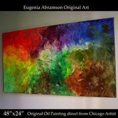 "Original Abstract OIL Painting Modern Decor Art on Canvas 48x24""Eugenia Abramson #ArtDeco"