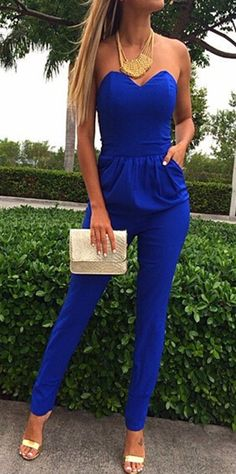 Blue Plain Bandeau Pockets Sexy Long Jumpsuit