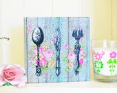 Vintage Cutlery Art Canvas Wall Decor, Cutlery with Ornament & Flowers Wall Art Canvas, Decoupage Tableware Design Canvas, Kitchen Decor