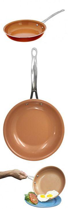 """Gotham Steel Ceramic and Titanium Nonstick Fry Pans, 11"""", Orange"""