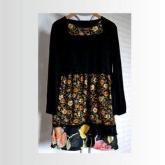 Riciclato vestito nero di donne, boho abito, maniche vestito di cotone, Abito, abito upcycled abbigliamento, vestito taglia L, abito floreale maglieria, sciolto
