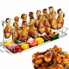 CULER Non Stick Stainless Steel Upright Roast Chicken Holder Roaster Rack Barbecue Grilling Tools for BBQ