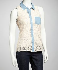 Take a look at this Creme Button-Up Top by Simply Irresistible on #zulily today!