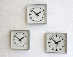 Industrial Factory Clocks By Pragotron Circa 1950's