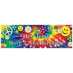 Personalized '60s Groovy Birthday Banner - Small - OrientalTrading.com Obvy-not for a bday