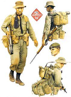 """Mid-War Infantry: • Grenadier, Victor 2 Coy, 1 RNZIR, 1967 • Private, Whiskey 1 Coy, 1 RNZIR, 1968 • Private, Victor 1 Coy, 1 RNZIR, 1967 • Signaller, 6RAR, 1970"", Kevin Lyles"